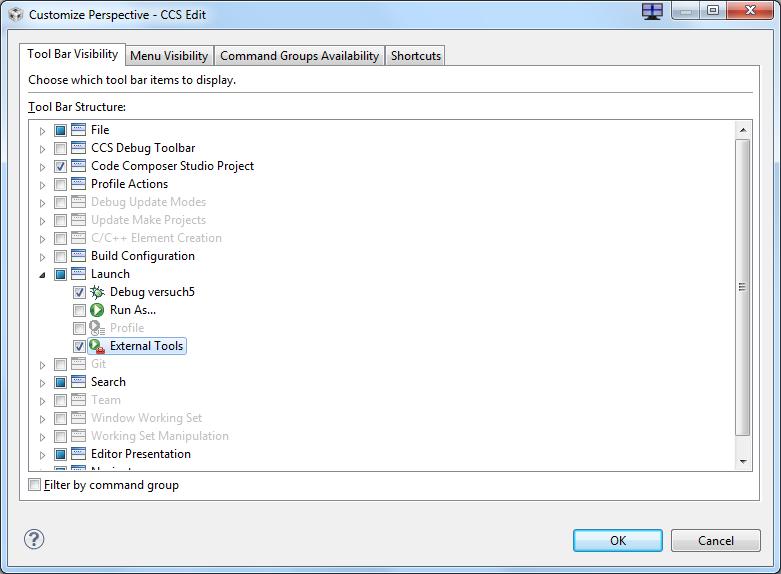 """Aktivieren des """"Toolbar"""" Eintrags zu den """"External Tools"""""""