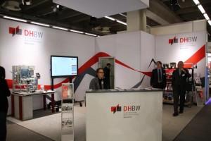 Messestand der DHBW: Vera Hullen (Partnermarketing), Prof. Dr. Schael, Prof. Dr. Voits (v.l.)